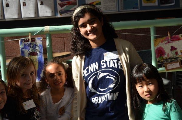 Fair Trade Intern Labanya Mookerjee with some of the young artists from The Walden School
