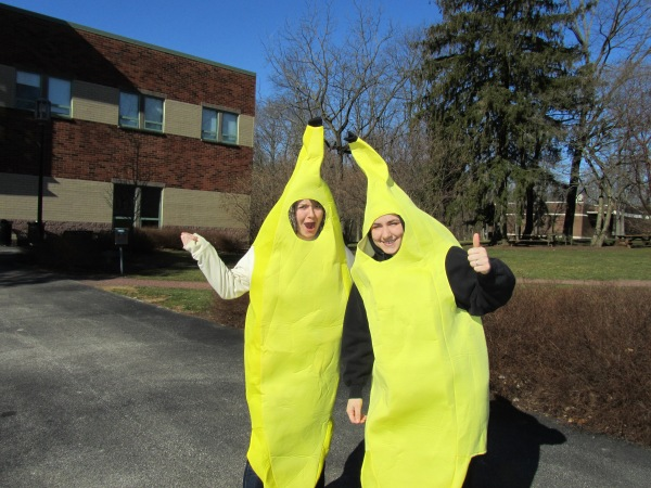 """Sarah DeMartino (left, Penn State University Park) and Aimee Ralph (Penn State Brandywine) as the """"welcome bananas"""" for today's events!"""